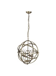 Searchlight Orbit Cage Frame Orb Pendant - Candle 4 Light - Antique Brass