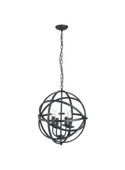 Searchlight Orbit Cage Frame Orb Pendant - Candle 4 Light - Matt Black