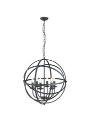 Searchlight Orbit Cage Frame Orb Pendant - Candle 6 Light - Matt Black