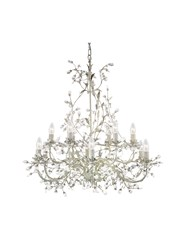 Searchlight Almandite Chandelier - 12 Light - Cream Gold Leaves & Clear Crystal