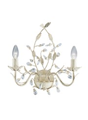 Searchlight Almandite Wall Light - 2 Light - Cream Gold Leaves And Clear Crystal
