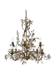 Searchlight Almandite Ceiling 8 Light - Golden Leaves And Clear Crystal