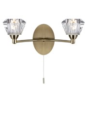 Searchlight Sierra Double Wall Light - Antique Brass - Sculptured Glass Shades