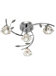 Searchlight Sierra Semi-Flush 4 Light - Chrome - Sculptured Glass Shades