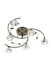 Searchlight Sierra Semi-Flush 6 Light - Antique Brass - Sculptured Glass Shades