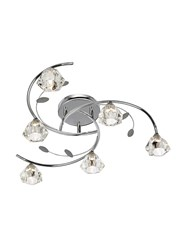 Searchlight Sierra Semi-Flush 6 Light - Chrome - Sculptured Glass Shades