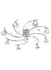 Searchlight Sierra Semi-Flush 9 Light - Chrome - Sculptured Glass Shades