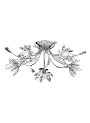 Searchlight Hibiscus Semi Flush 5 Light - Chrome - Flower Glass