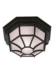 Searchlight Outdoor & Porch Black Flush Light With White Sanded Glass