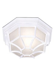 Searchlight Outdoor & Porch White Flush Light With White Sanded Glass