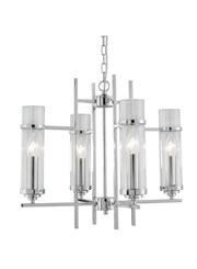 Searchlight Milo Ceiling Candle 4 Light - Glass Cylinder Shade - Chrome