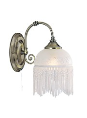 Searchlight Victoriana Antique Brass Wall Light - Beaded Glass - Pull Cord
