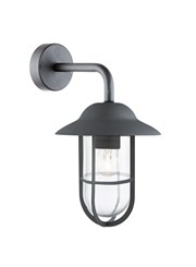 Searchlight Well Glass Outdoor Wall Light - Black - Clear Glass - IP44