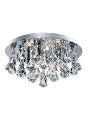 Searchlight Hanna Pyramid Drop 4 Light Fitting - Chrome - Diamond Shape Crystals