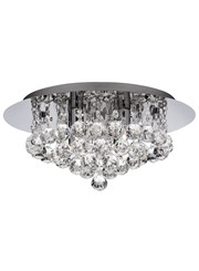 Searchlight Hanna 4 Light Round Fitting - Chrome - Round Crystals