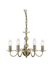 Searchlight Monarch Ceiling 5 Light - Antique Brass - Glass Sconces