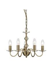 Searchlight Monarch Ceiling 5 Light - Antique Brass - Glass Sconces