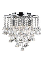 Searchlight Dorchester Ceiling Light - Chrome - Diamond Crystal Drops