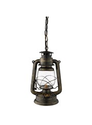 Searchlight Hurricane Miners Lantern Pendant - Black & Gold - Glass Shade