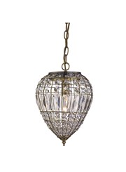Searchlight Pendant Light - Antique Brass - Clear Glass Buttons/Coffin Drop Trim