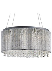 Searchlight Beatrix 8  Light Round Drum Pendant - Chrome - Crystal Button Drops