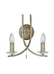 Searchlight Ascona - 2 Light Wall Light - Antique Brass - Glass Sconces