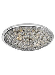 Searchlight Orion 3 Light Flush Fitting -  Chrome - Clear Crystal Glass Buttons