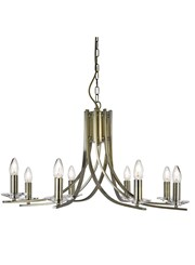Searchlight Ascona - 8 Light Ceiling Pendant - Antique Brass - Glass Sconces