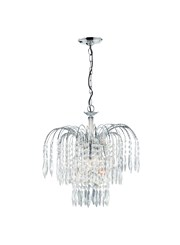 Searchlight Waterfall 3 Light Pendant - Cascading Crystal Buttons & Drops
