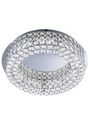 Searchlight Vesta Flush Ceiling Light - Led - Chrome - Clear Crystal Buttons