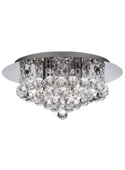 Searchlight Hanna Semi Flush Ceiling Light - Chrome - Clear Crystal Balls - Ip44