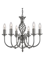 Searchlight Zanzibar Ceiling 6 Light - Satin Silver