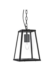 Searchlight Voyager Lantern Single Pendant - Matt Black - Clear Glass - Chain