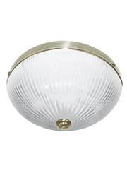 Searchlight Windsor Ii Flush Ceiling Light - Antique Brass - Ribbed Glass