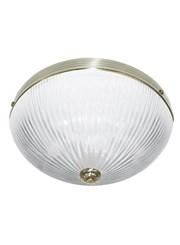 Searchlight Windsor Ii Flush Ceiling Light - Antique Brass - Ribbed Glass