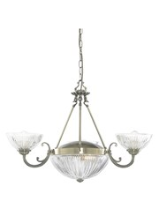 Searchlight Windsor Ii Ceiling 5 Light - Antique Brass - Marble Glass