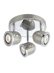 Searchlight Palmer Triple Ceiling Round Spotlight - Satin Silver & Chrome Trim