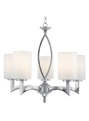 Searchlight Gina Ceiling 5 Light - Chrome - White Glass Cylinder Shades