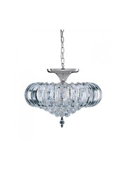 Searchlight Sigma Semi-Flush 5 Light - Chrome - Clear Crystal Prisms & Balls