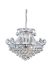 Searchlight Bloomsbury 6  Light Crystal Tiered Chandelier - Chrome