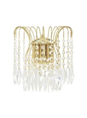 Searchlight Waterfall Double Wall Light - Crystal Buttons & Drops - Gold