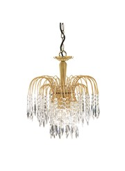 Searchlight Waterfall 3 Light Pendant - Cascading Crystal Buttons & Drops - Gold