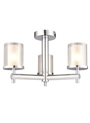 Endon Britton Semi Flush Bathroom Ceiling Light - Chrome - 3 Light - IP44