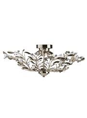 Searchlight Lima Semi Flush 6 Light - Antique Brass - Floral Design