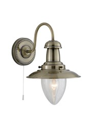 Searchlight Fisherman Single Wall Light - Antique Brass - Glass Shade - Cord