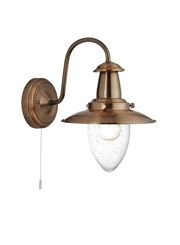Searchlight Fisherman Single Wall Light - Copper - Glass Shade - Cord
