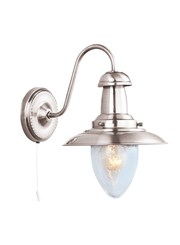 Searchlight Fisherman Single Wall Light - Satin Silver - Glass Shade - Cord