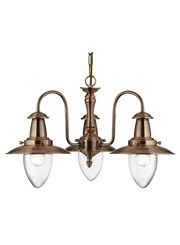 Searchlight Fisherman 3 Light Ceiling Pendant - Copper - Glass Shades