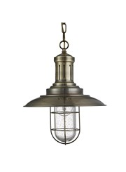 Searchlight Fisherman Single Pendant Light - Antique Brass - Caged Glass Shade