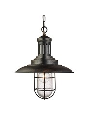 Searchlight Fisherman Single Pendant Light - Black Gold - Caged Glass Shade